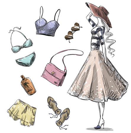 夏のファッション。夏の衣類やアクセサリーのコレクション