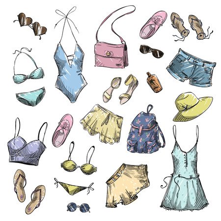 fashion collection: Summer fashion. collection of summer clothing and accessories