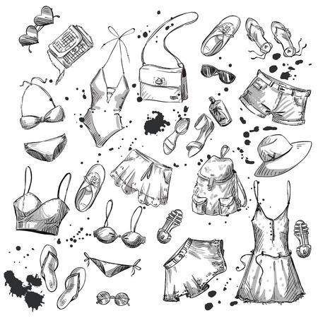 ropa de verano: Manera del verano. colecci�n de ropa de verano y accesorios Vectores