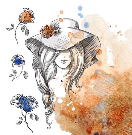 textura pelo: chica en un sombrero en un fondo de la acuarela