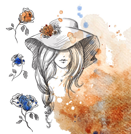 long black hair: girl in a hat on a watercolor background Illustration