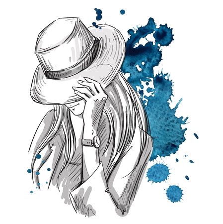 tresses: Girl in hat looking down. Fashion illustration.