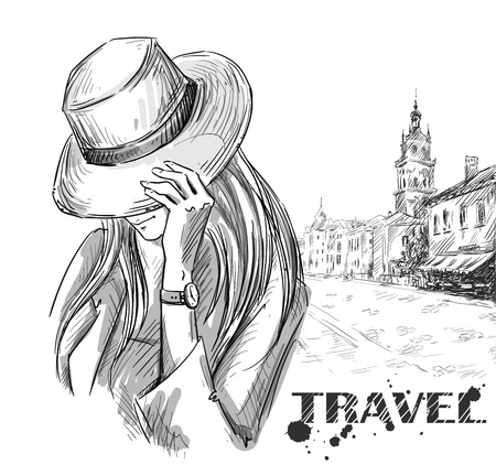 fashion illustration. girl on an old town background. hand drawn