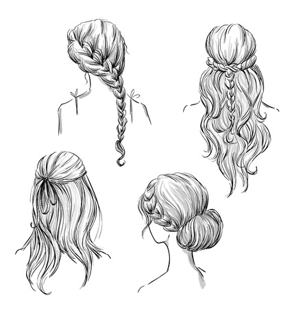 black hair girl: set of different hairstyles. Hand drawn. Black and white. Illustration
