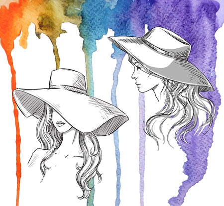 Fashion illustration. Girls in hats on a watercolor background. Vector