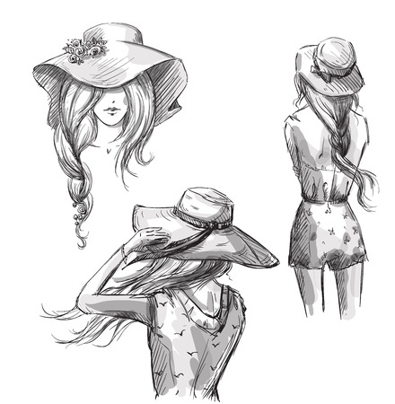backview: Fashion illustration. Hand drawn. Girls in hats.