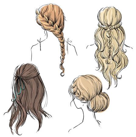 buns: conjunto de diferentes tipos de peinados. Dibujado a mano. Vectores