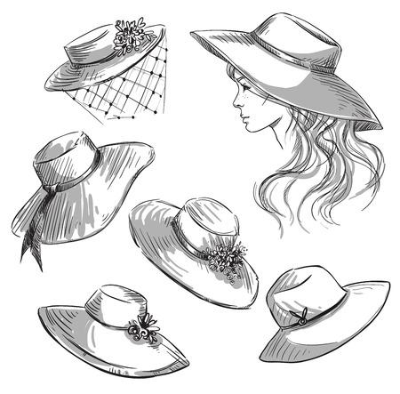chapeau de paille: Jeu de chapeaux. Fille dans un chapeau. Fashion illustration.