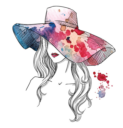 blue hair: Sketch of a girl in a hat. Fashion illustration. Hand drawn Illustration