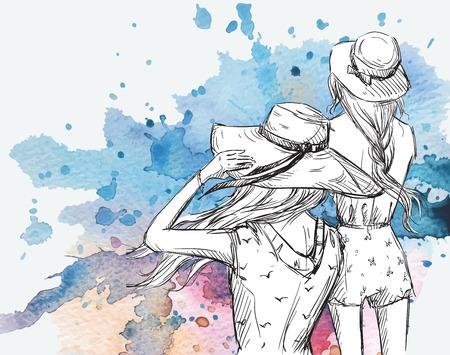ファッション イラスト。水彩画背景で帽子の女の子  イラスト・ベクター素材