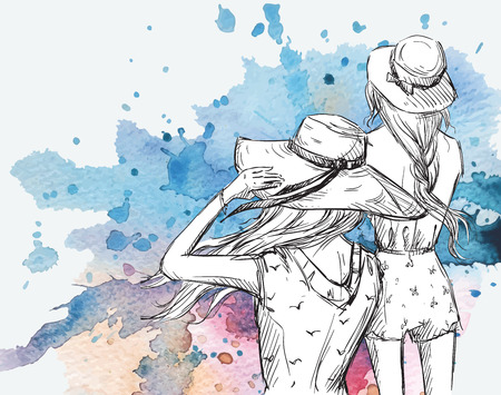 fashion illustration. Girls in hats on a watercolor background