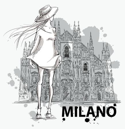 fashion dresses: fashion sketch. Girl on a Milano Duomo  background