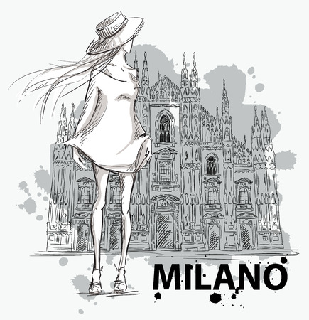 fashion sketch. Girl on a Milano Duomo  background