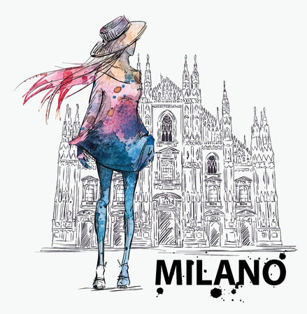 duomo: fashion sketch. Girl on a Milano Duomo  background