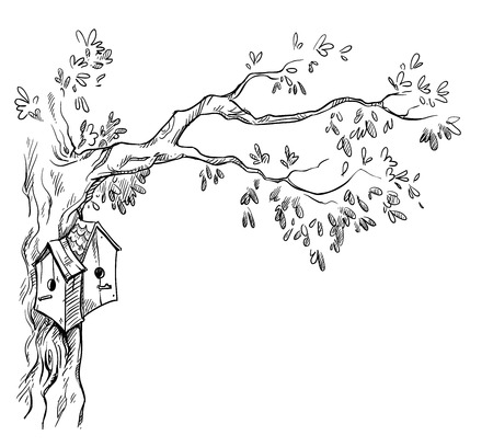house sketch: bird houses on a tree