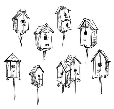 Set of hand drawn bird houses Stock Illustratie