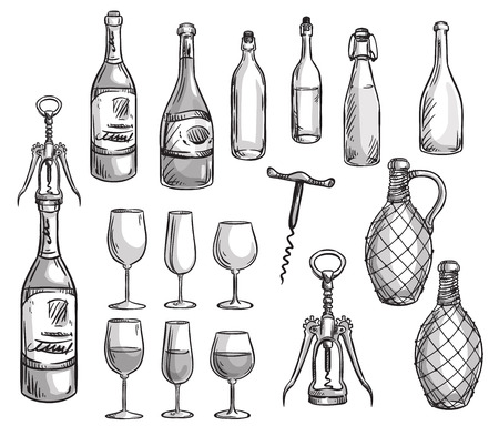 Set of wine bottles, glasses and corkscrews Vectores