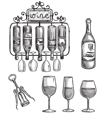 cast iron: Iron cast wine holder, bottles and glasses