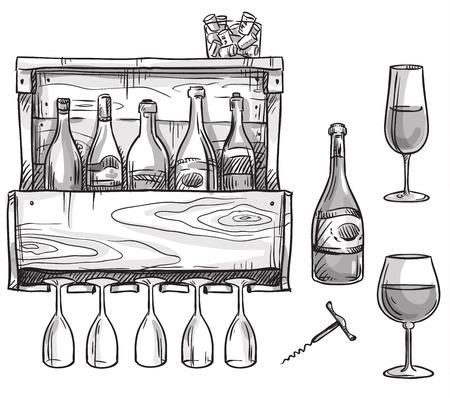 Wine holder, bottles and glasses Ilustração