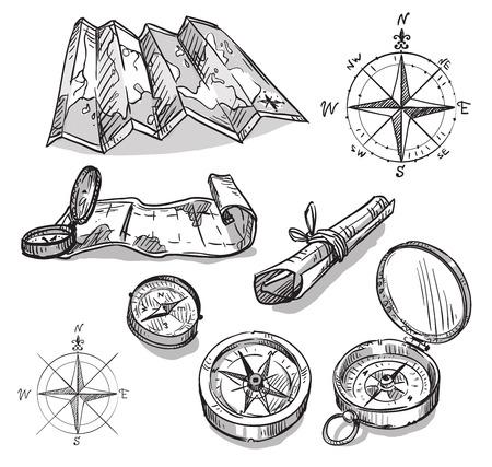 compas de dibujo: Conjunto de brújulas y mapas dibujados a mano