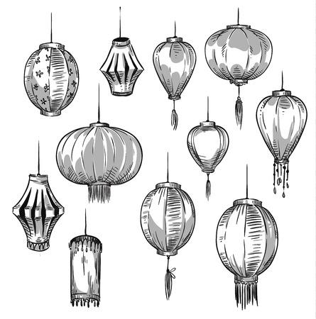 Set of Chinese lanterns Ilustração
