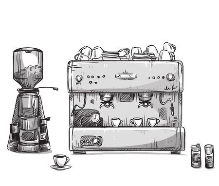 Set coffee making equipment. Coffeemaker and grinder