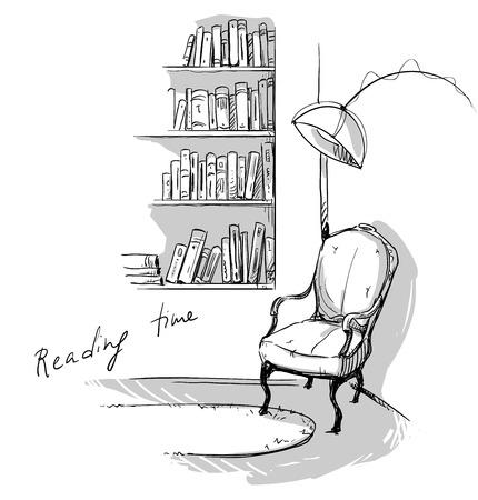 lijntekening: Leestijd. Een rustige gezellige hoek in huis? boekenplanken en een stoel Stock Illustratie