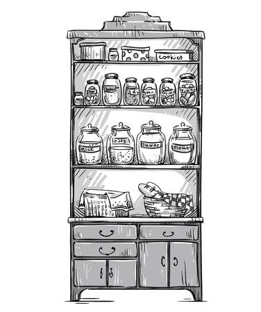 dinnerware: Kitchen cupboard, kitchen shelves, hand drawn