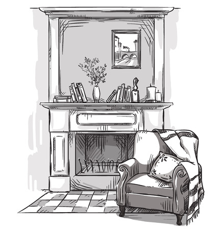 Hand drawn fireplace and an armchair. A cozy place at home.