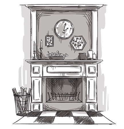 fireplace: Hand drawn fireplace. A cozy place at home.