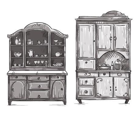 cupboards: Kitchen cupboards, hand drawn Illustration