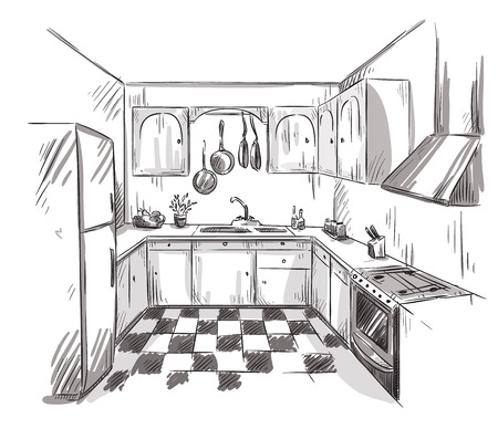 interior drawing: Kitchen interior drawing, vector illustration