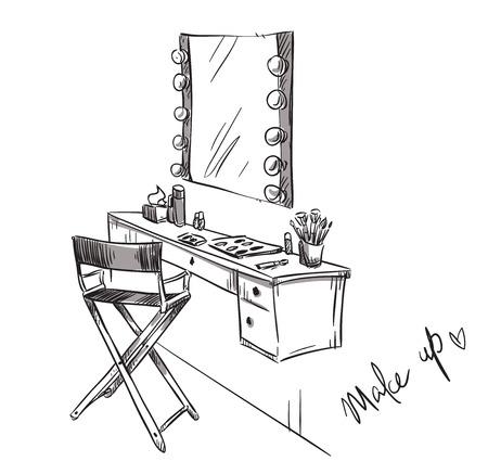kleedkamer: Make-up. Kaptafel en klapstoel illustratie