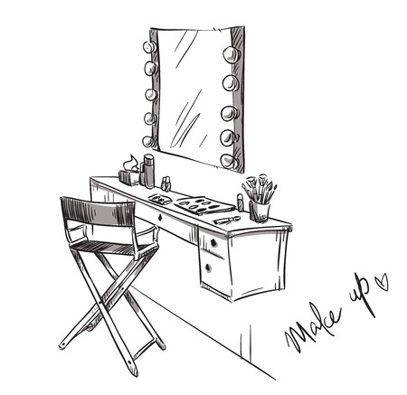 up: Make up. Vanity table and folding chair illustration