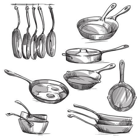 pans: Set of frying pans