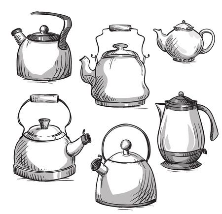 kettles: Set of kettles Illustration