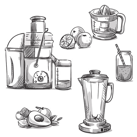 juice fresh vegetables: Juicers. Juicing machines. Blender. Healthy diet. Illustration