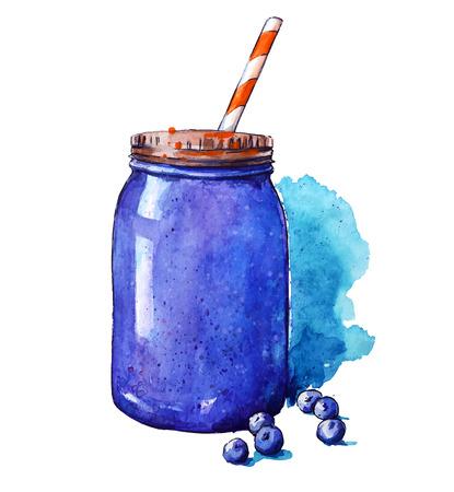 ブルーベリーのスムージー。石工の瓶。水彩画。手描き。