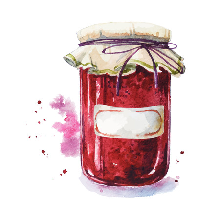 confiture: Fruit jam with a sticker. Mason jar. Watercolor. Hand painted. Illustration