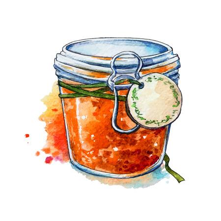 アプリコット ジャム。蜂蜜。石工の瓶。水彩画。手描き。