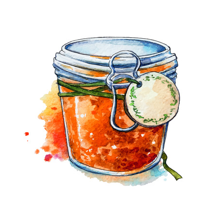 Apricot jam. Honey. Mason jar. Watercolor. Hand painted.