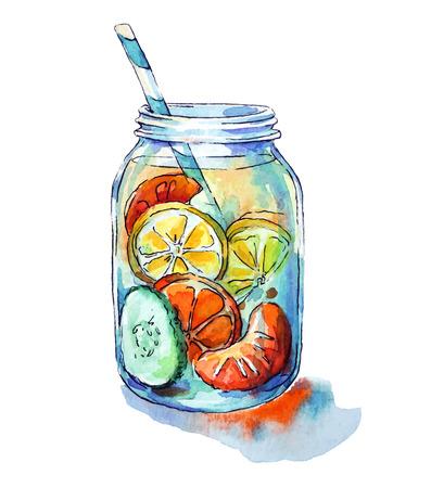fruit drink: Bevanda frutta. Barattolo Mason. Acquerello. Dipinto a mano.