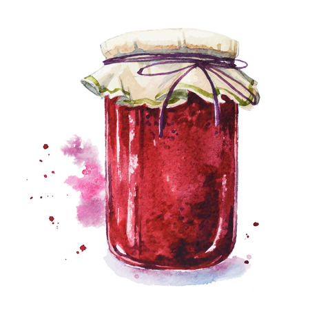 Fruit jam. Mason jar. Watercolor. Hand painted. Çizim