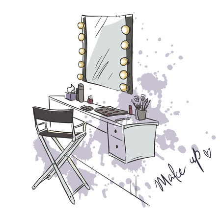 vanity: Make up. Vanity table and folding chair illustration.