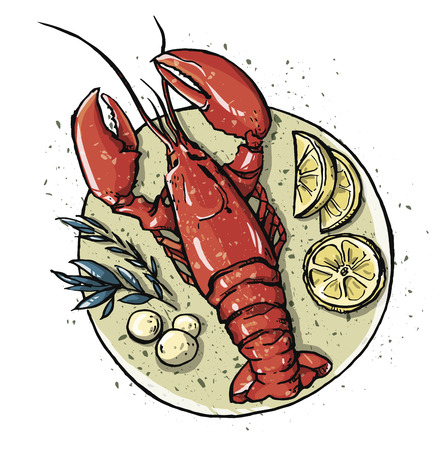 Lobster on a dish.  Seafood. Vector illustration. Иллюстрация