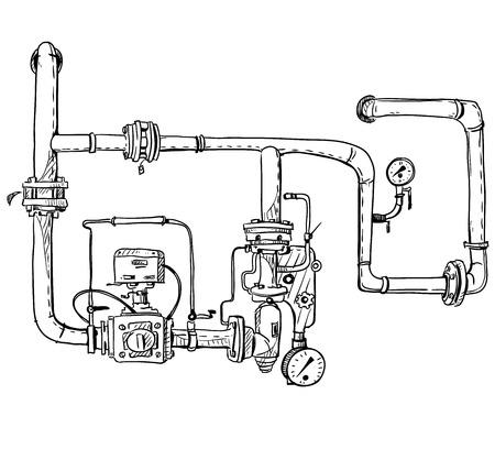 Boiler room. Pipes. Vector sketch. 일러스트