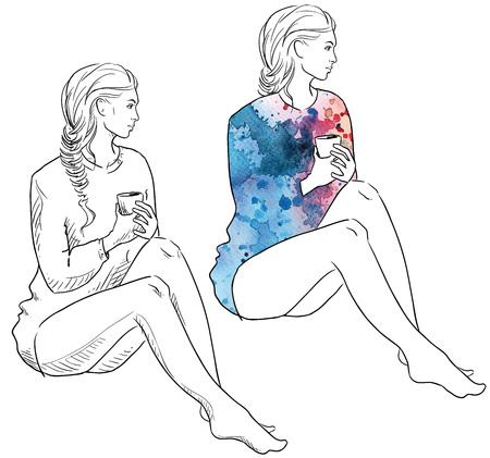 young black girl: Girl in a sweater holding a cup of coffee sitting. Fashion illustration.