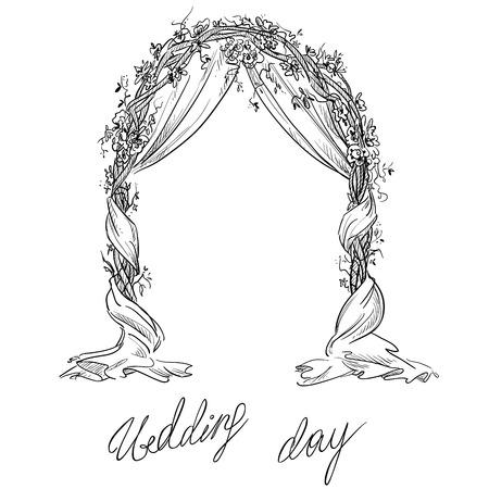 婚禮: 婚禮拱門。裝飾。矢量草圖。設計元素。