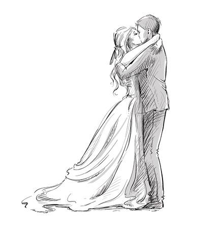 婚禮: 婚禮的情侶接吻。新人。矢量草圖。