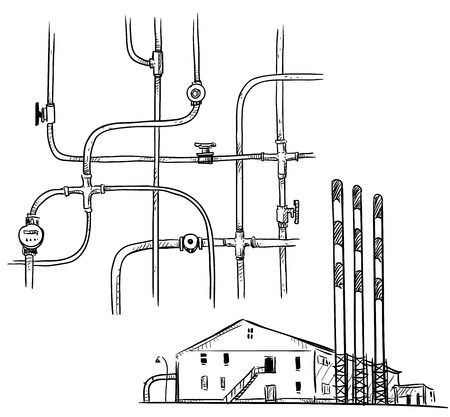 sketch: power  plant. Factory. Pipelines.